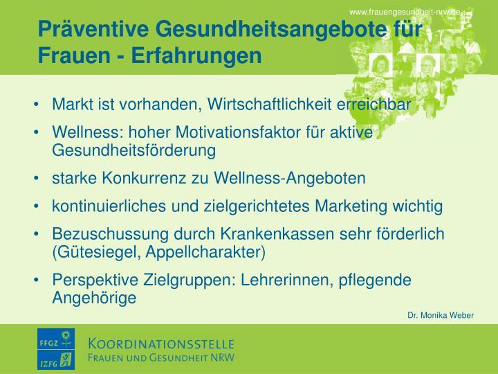 Präventive Gesundheitsangebote für Frauen - Erfahrungen