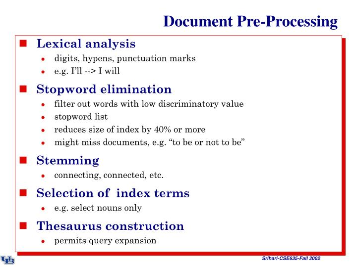 Document pre processing