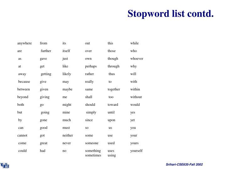 Stopword list contd.