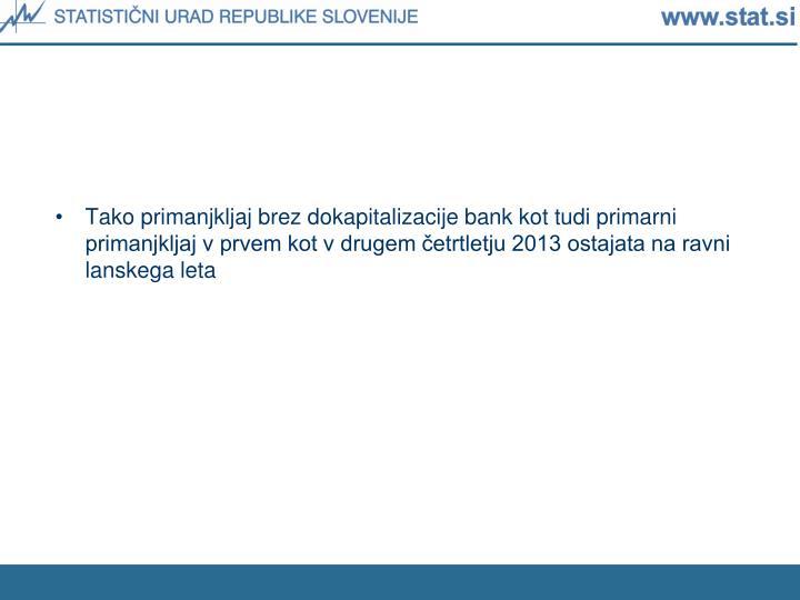 Tako primanjkljaj brez dokapitalizacije bank kot tudi primarni primanjkljaj v prvem kot v drugem četrtletju 2013 ostajata na ravni lanskega leta