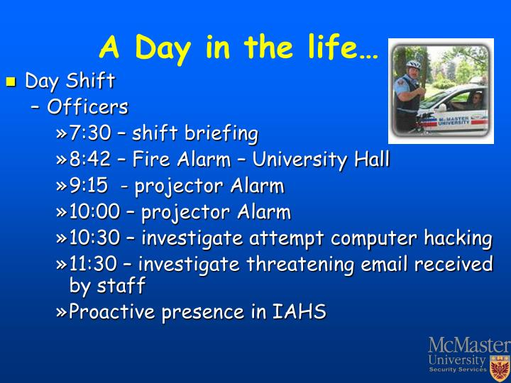 A Day in the life…