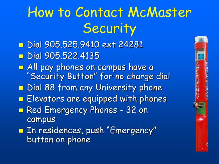 How to Contact McMaster Security