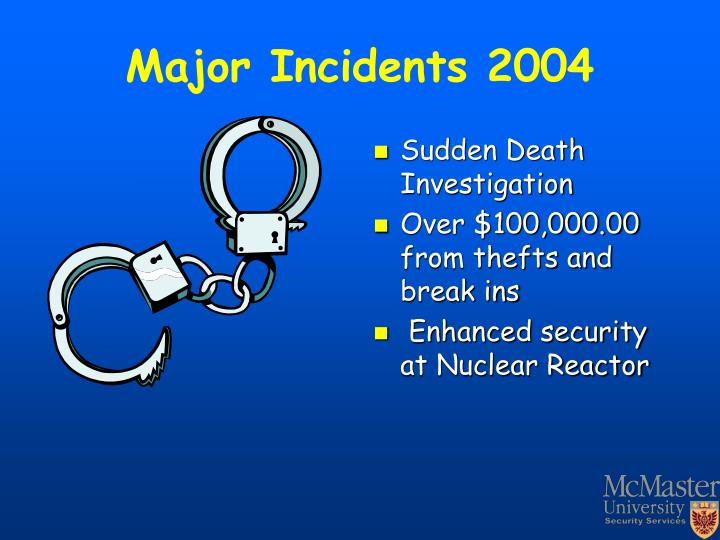 Major Incidents 2004