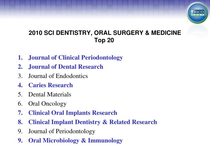 2010 SCI DENTISTRY, ORAL SURGERY & MEDICINE