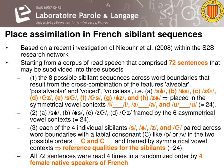 Place assimilation in French sibilant sequences
