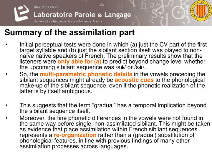Summary of the assimilation part