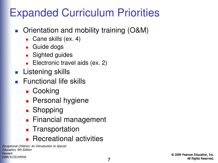 Expanded Curriculum Priorities