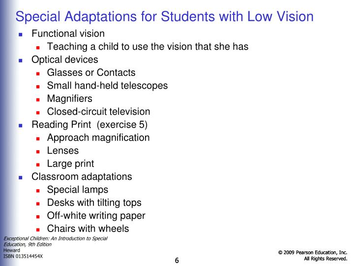 Special Adaptations for Students with Low Vision