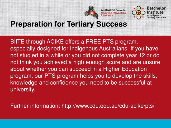 Preparation for Tertiary Success