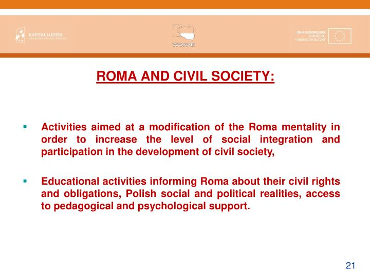 ROMA AND CIVIL SOCIETY: