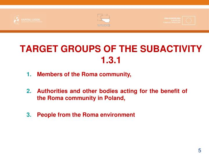 TARGET GROUPS OF THE SUBACTIVITY 1.3.1