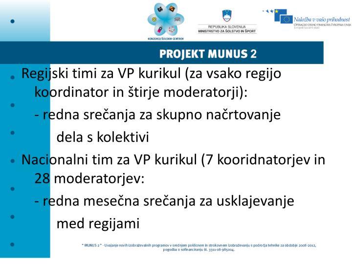 Regijski timi za VP kurikul (za vsako regijo koordinator in štirje moderatorji):
