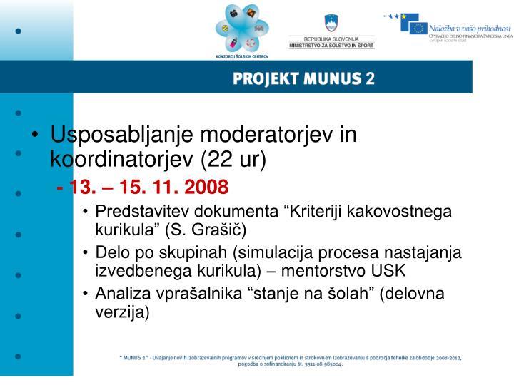 Usposabljanje moderatorjev in koordinatorjev (22 ur)