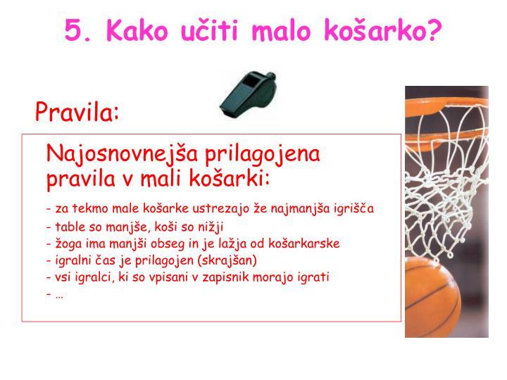 Najosnovnejša prilagojena pravila v mali košarki: