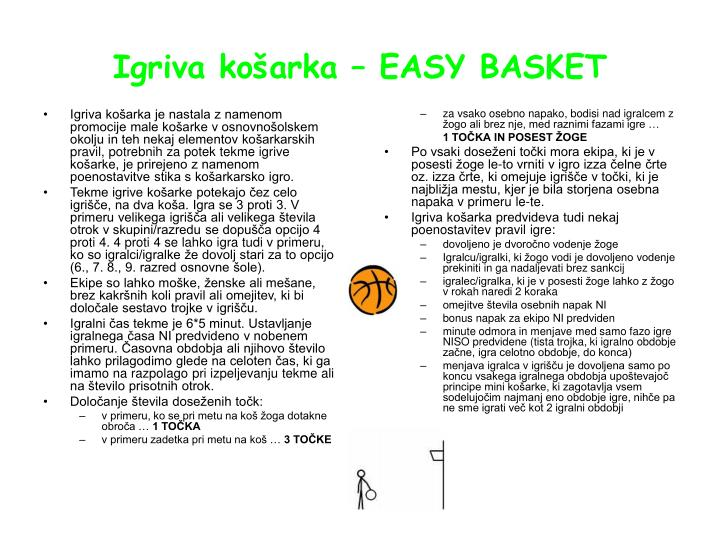 Igriva košarka je nastala z namenom promocije male košarke v osnovnošolskem okolju in teh nekaj elementov košarkarskih pravil, potrebnih za potek tekme igrive košarke, je prirejeno z namenom  poenostavitve stika s košarkarsko igro.