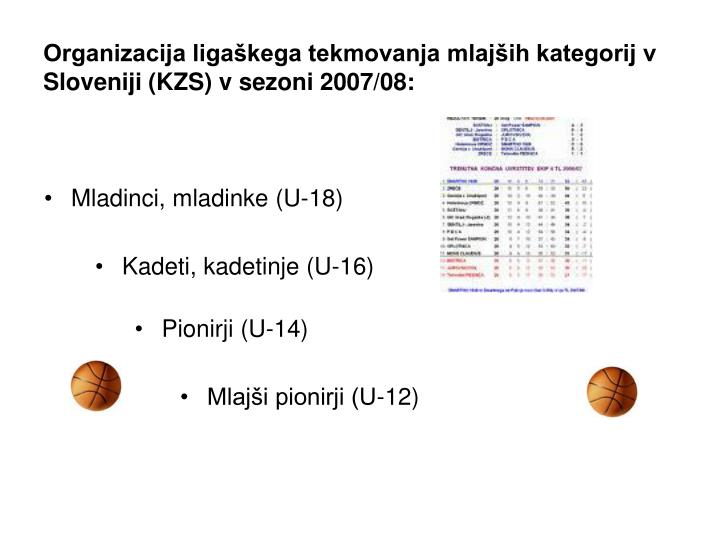 Organizacija ligaškega tekmovanja mlajših kategorij v Sloveniji (KZS) v sezoni 2007/08: