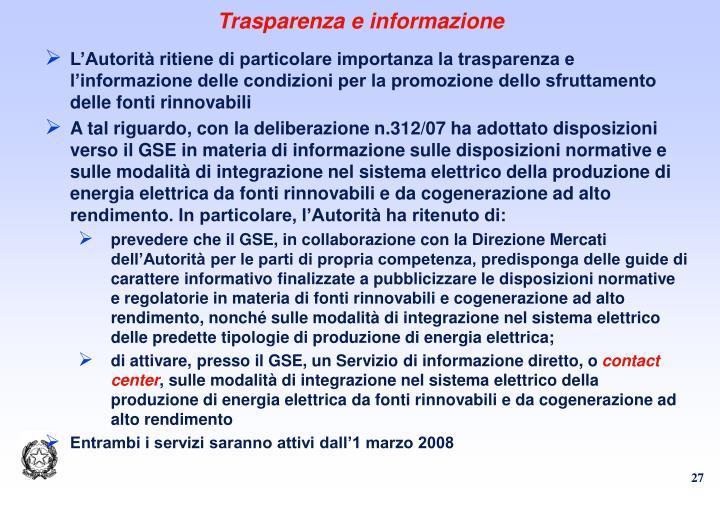 Trasparenza e informazione