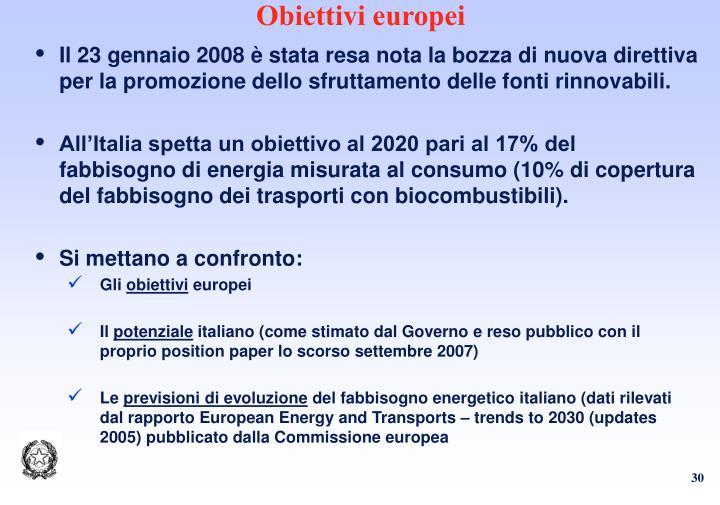 Obiettivi europei