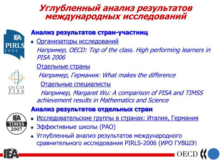 Углубленный анализ результатов международных исследований