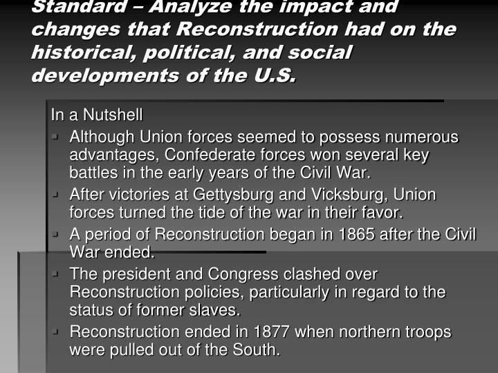 an analysis of the reconstruction in the south