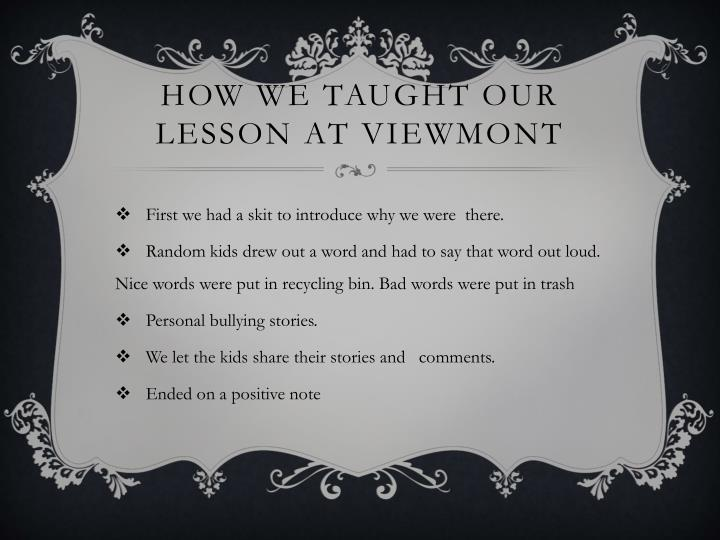How We Taught Our Lesson at