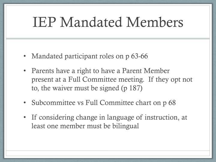 IEP Mandated Members