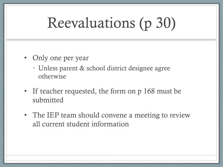 Reevaluations (p 30)