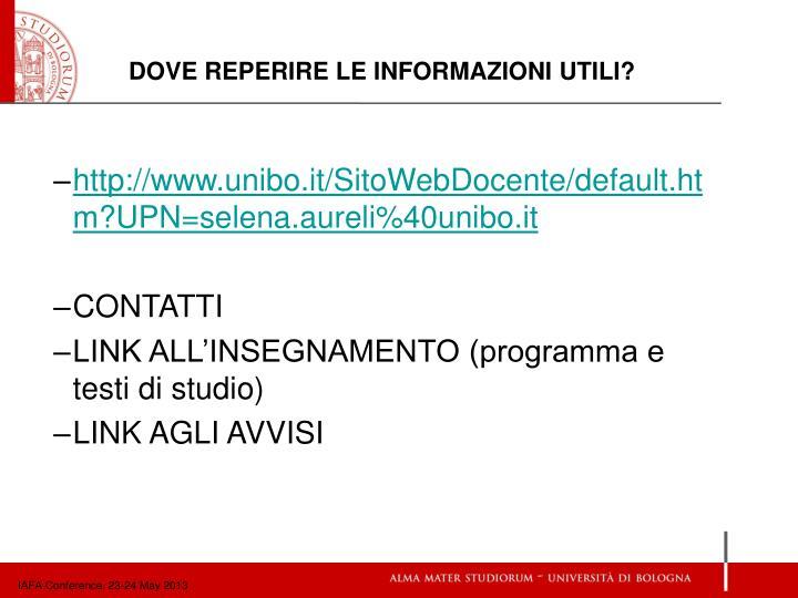http://www.unibo.it/SitoWebDocente/default.htm?UPN=selena.aureli%40unibo.it