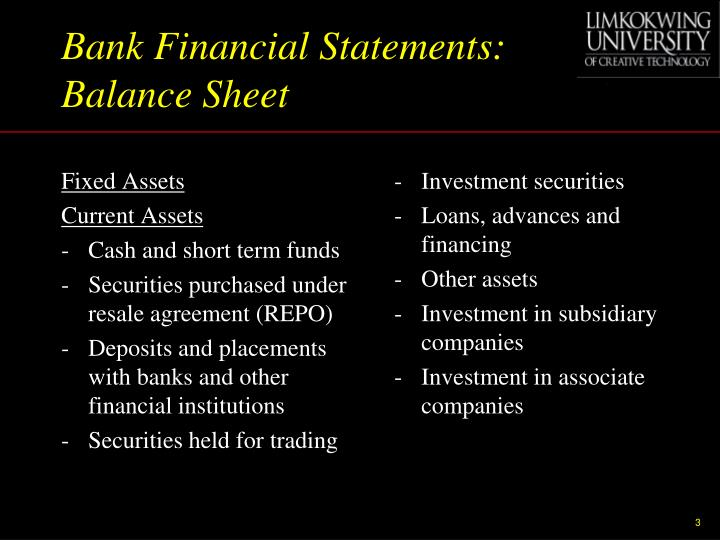 Bank Financial Statements: