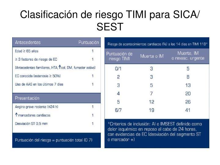 Clasificación de riesgo TIMI para SICA/ SEST