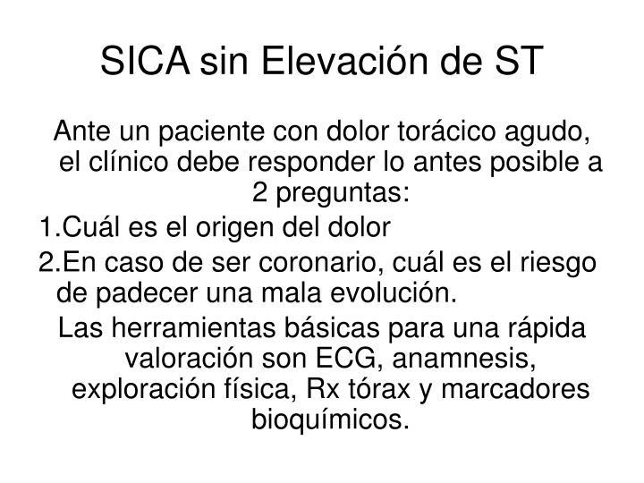 SICA sin Elevación de ST