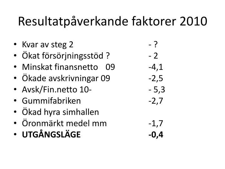 Resultatpåverkande faktorer 2010