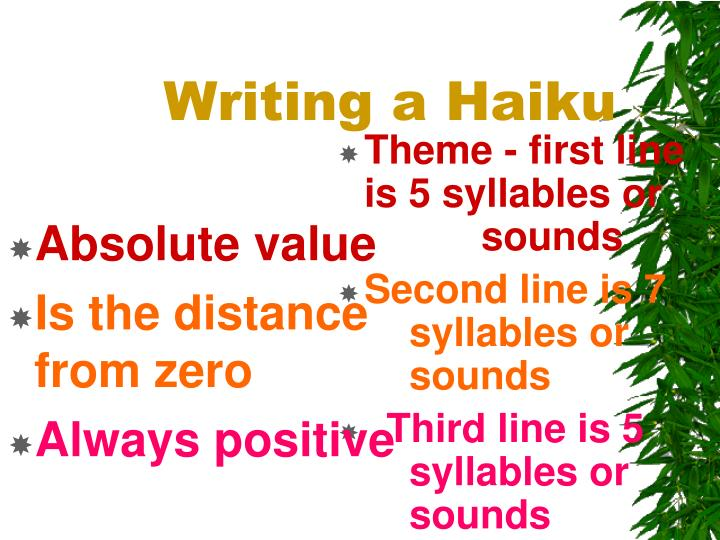 Theme - first line is 5 syllables or      sounds