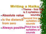writing a haiku