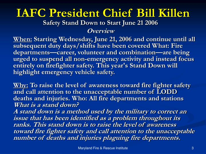 Iafc president chief bill killen