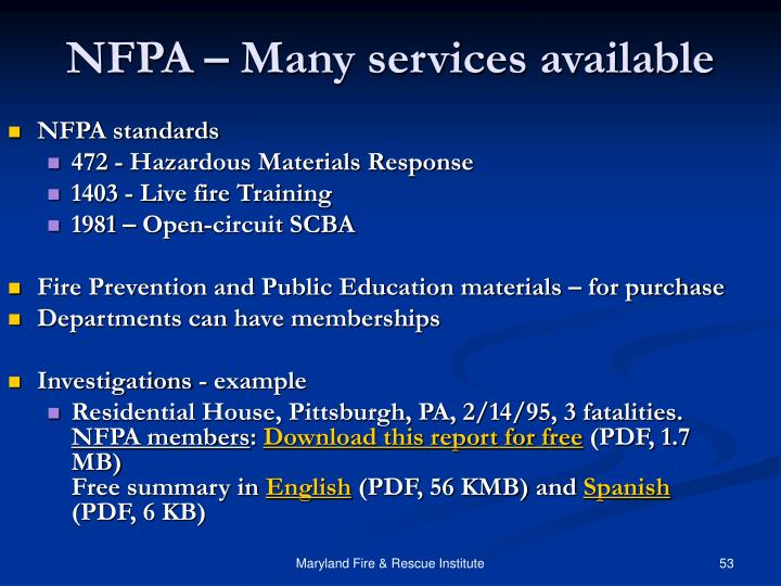 NFPA – Many services available