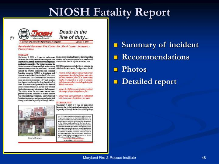 NIOSH Fatality Report