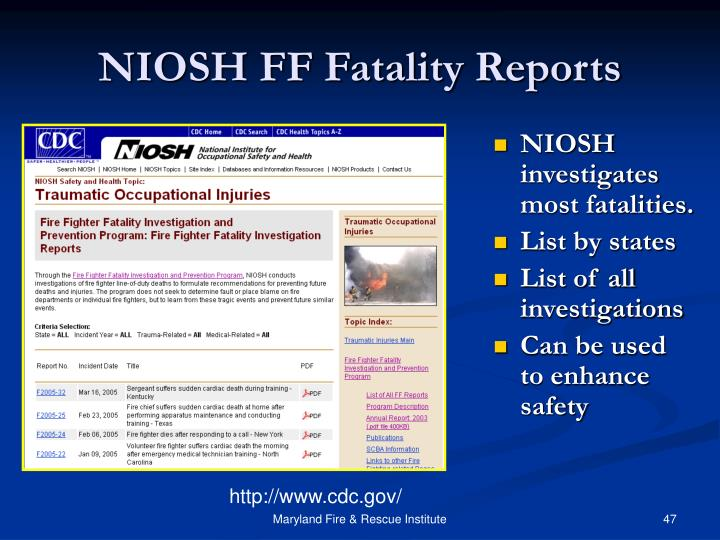 NIOSH FF Fatality Reports
