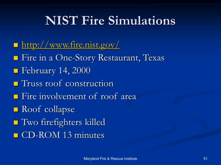NIST Fire Simulations