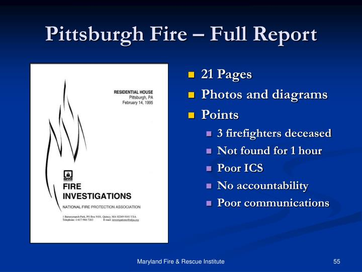 Pittsburgh Fire – Full Report
