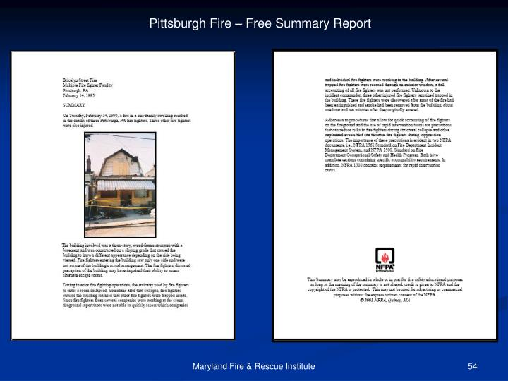Pittsburgh Fire – Free Summary Report