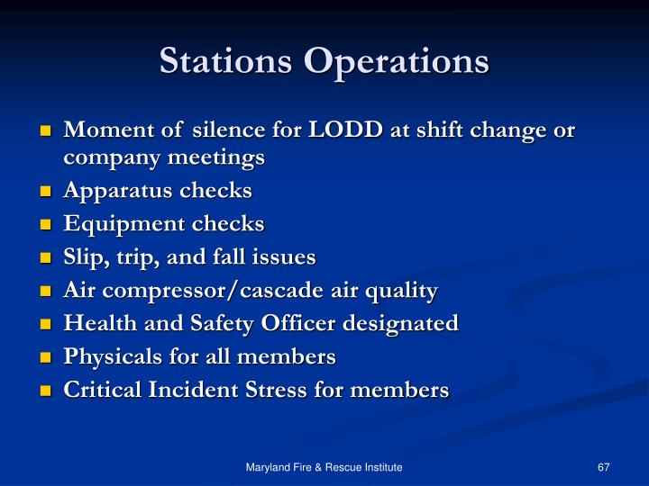 Stations Operations