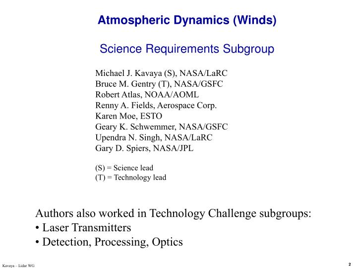 Atmospheric dynamics winds science requirements subgroup