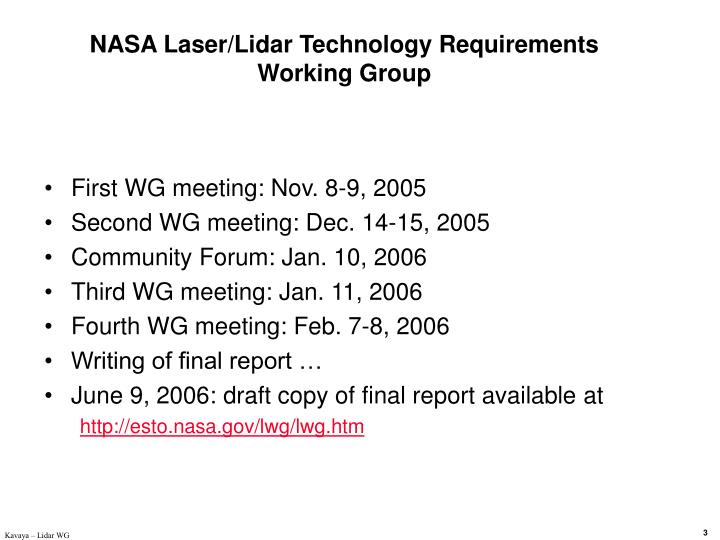 NASA Laser/Lidar Technology Requirements Working Group