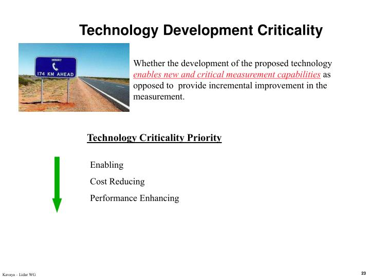 Technology Development Criticality
