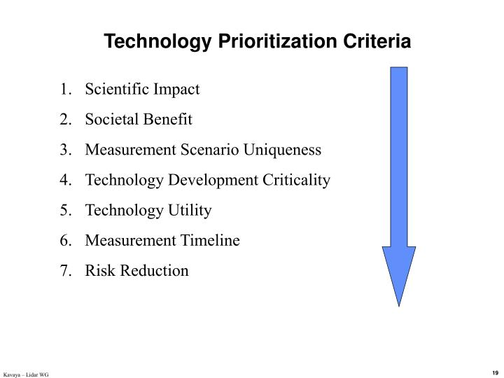 Technology Prioritization Criteria