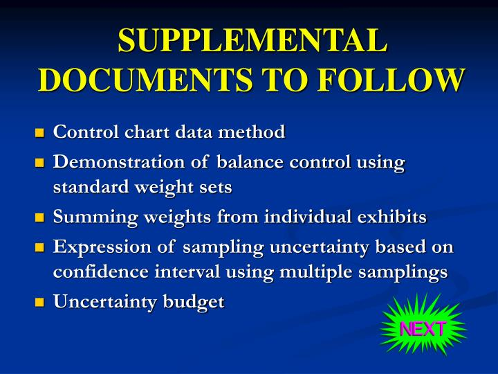 SUPPLEMENTAL DOCUMENTS TO FOLLOW