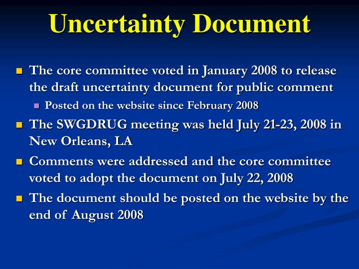 Uncertainty Document