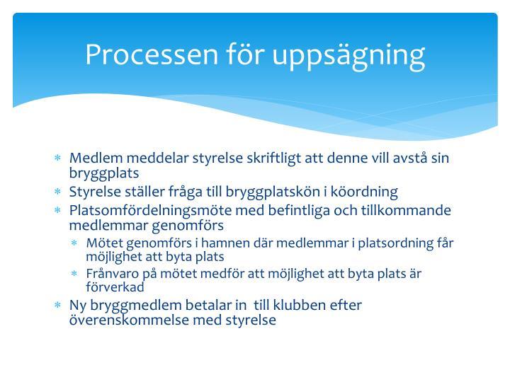 Processen för uppsägning