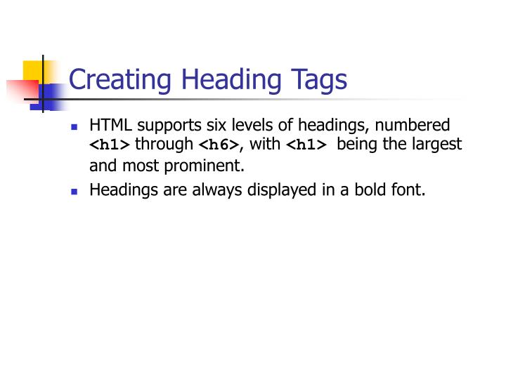 Creating Heading Tags
